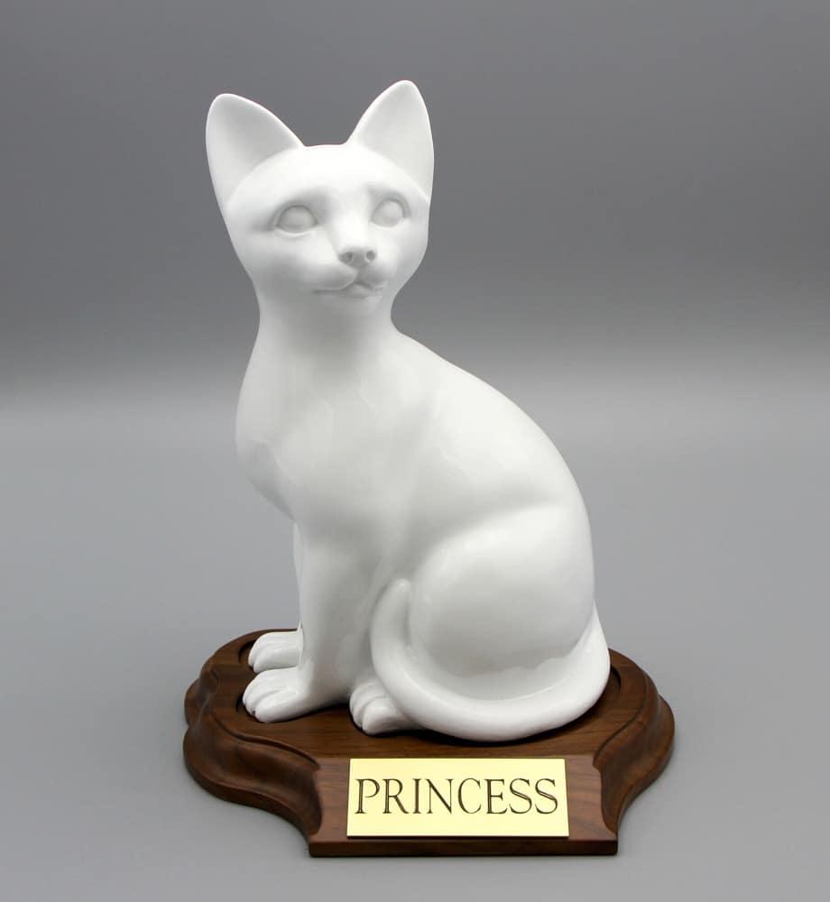 Faithful feline porcelain style cat cremation urn, sitting, white, with base