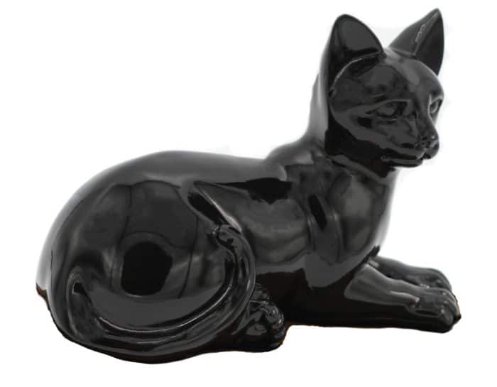 Black porcelain style cat cremation urn, laying