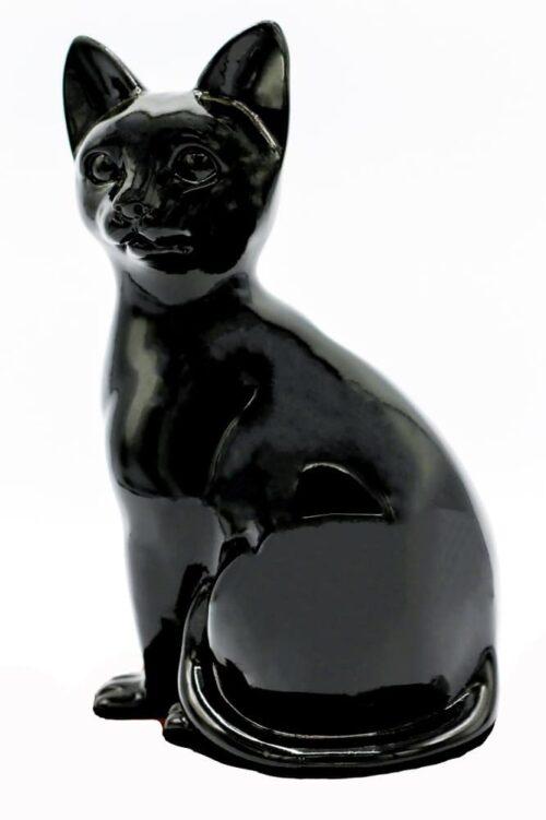 Black porcelain style cat cremation urn, sitting