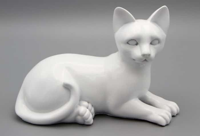 White porcelain style cat cremation urn, laying