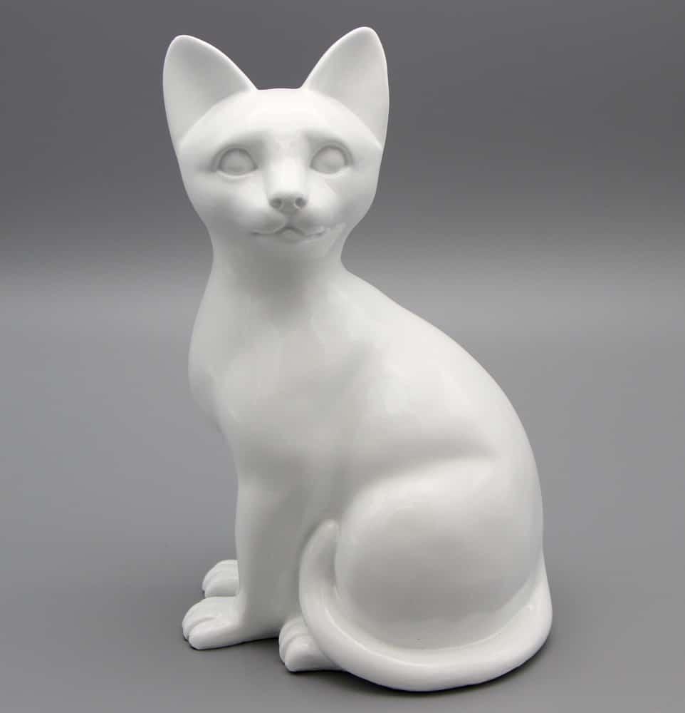 White porcelain style cat cremation urn, sitting