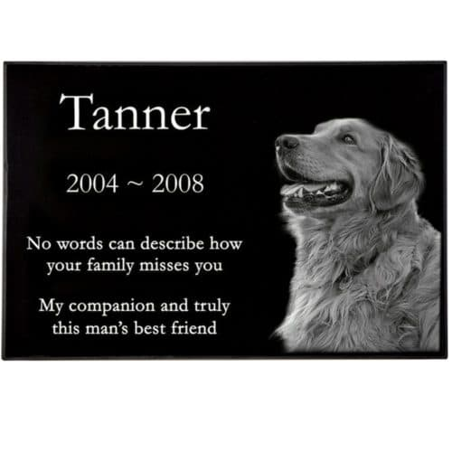 "Engraved granite pet headstone, 1"" thick"