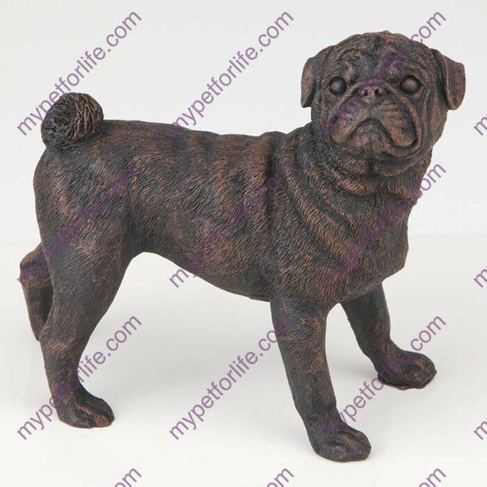 Bronze style dog cremation urn, pug
