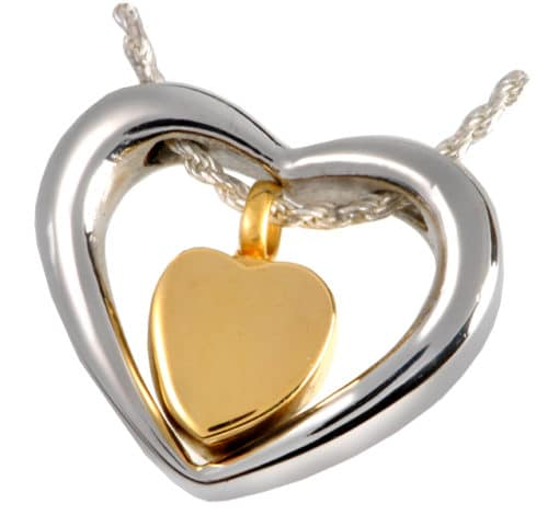 Stainless Steel Heart of Gold Memorial Cremation Pendant