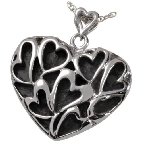 Heart of Hearts Stainless Steel Cremation Memorial Pendant, 6809