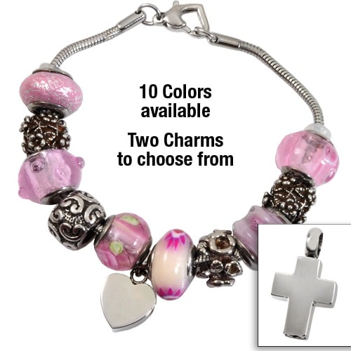 Remembrance Bead Memorial Bracelet with cross charm, engraved