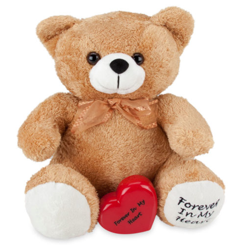 Tan stuffed teddy bear memorial cremation urn with keepsake heart