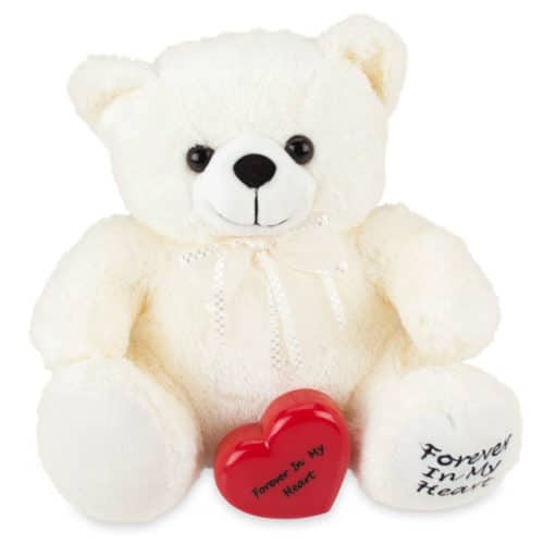 White stuffed teddy bear memorial cremation urn with keepsake heart