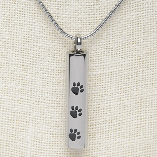 Stainless steel three paw print cylinder memorial cremation pendant