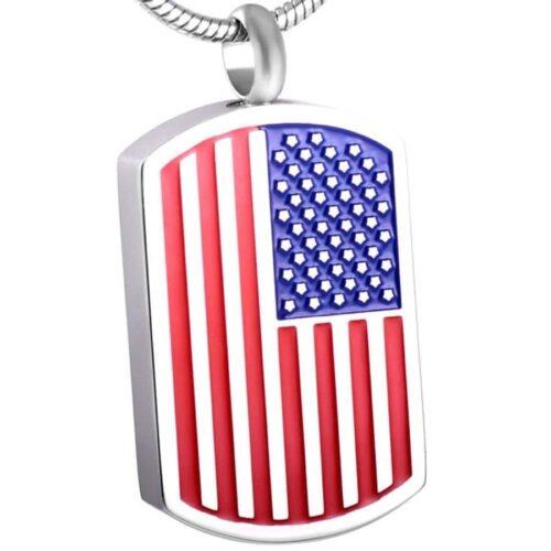 American Flag dog tag memorial cremation pendant