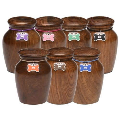 Rosewood vase pet memorial cremation urn with bone decoration, all colors