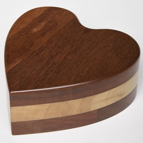 Acacia wood heart pet memorial cremation urn