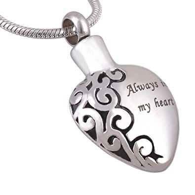 Always in my heart memorial cremation pendant, stainless steel