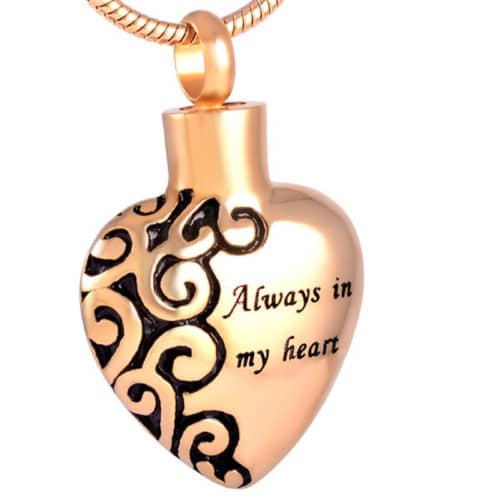 Always in my heart memorial cremation pendant, stainless steel, gold color
