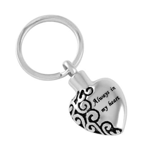 Always in my heart memorial cremation pendant keychain, stainless steel