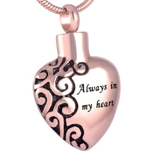 Always in my heart memorial cremation pendant, stainless steel, rose gold color