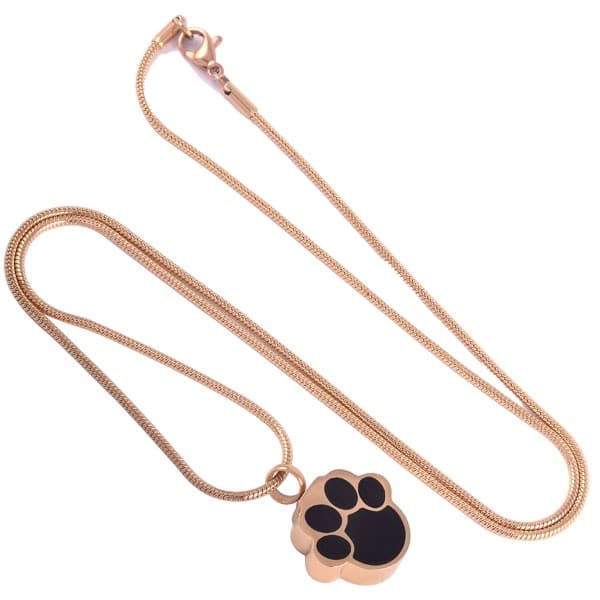 Stainless steel black paw print-shaped memorial cremation pendant, gold color, full