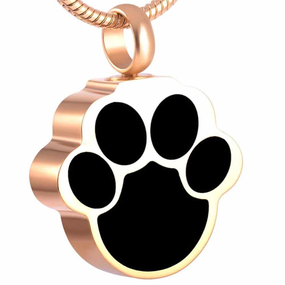 Stainless steel black paw print-shaped memorial cremation pendant, gold color
