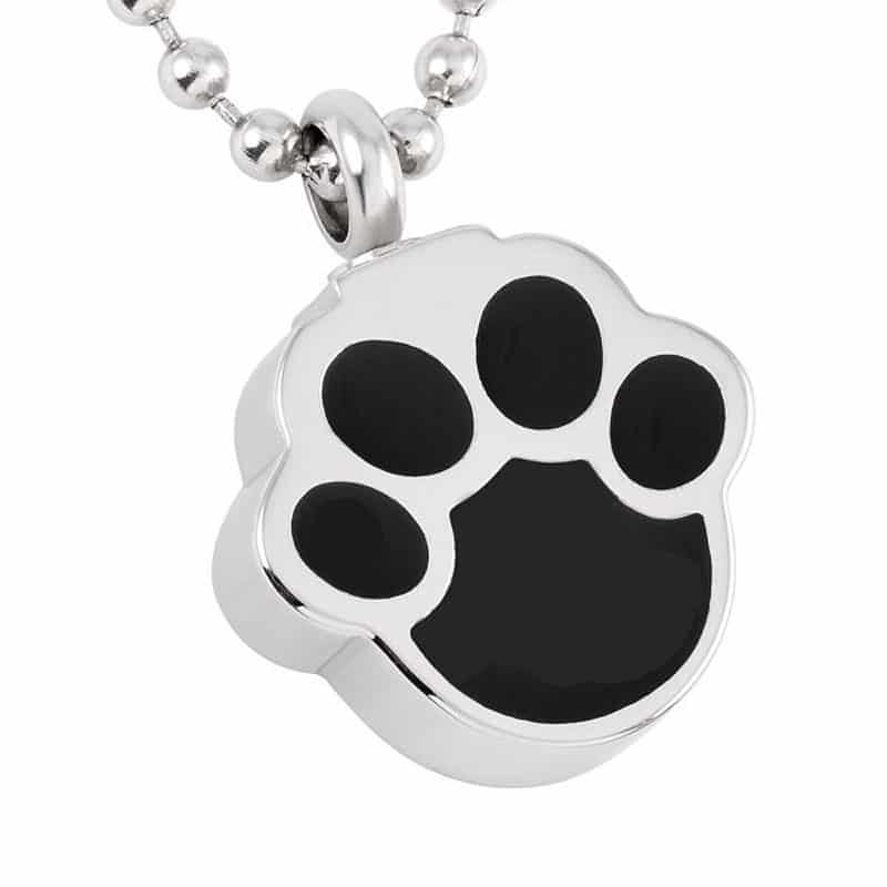 Stainless steel black paw print-shaped memorial cremation pendant