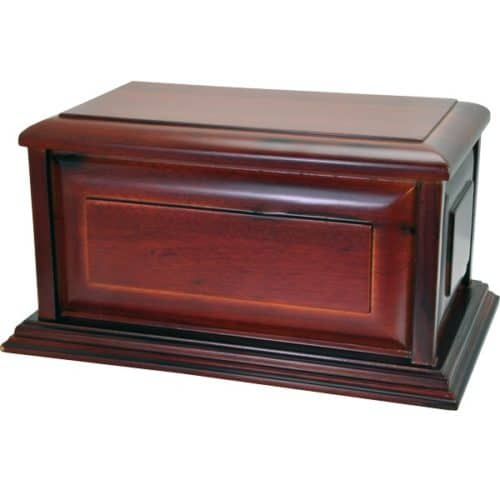 Cherry wood finish raised panel cremation urn