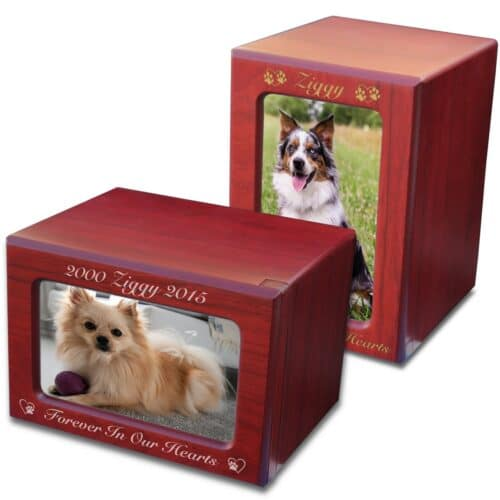 MDF wood memorial pet photo urn, cherry finish, engraved, horizontal & vertical