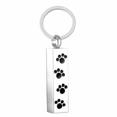 Stainless steel Rectangular Cremation Pendant Keychain with 4 paw prints