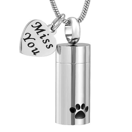 Pet cremation memorial pendant cylinder with paw print & heart charm, stainless steel