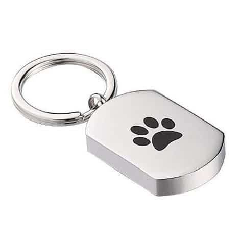 Stainless steel Dog Tag Cremation Pendant Keychain with paw print