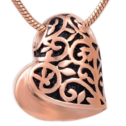 Filigree heart stainless steel pet memorial cremation pendant, rose gold color