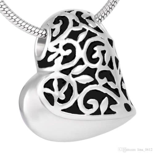 Filigree heart stainless steel pet memorial cremation pendant