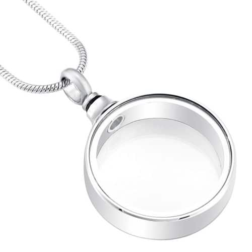 Fillable Glass Circle Memorial Cremation Pendant