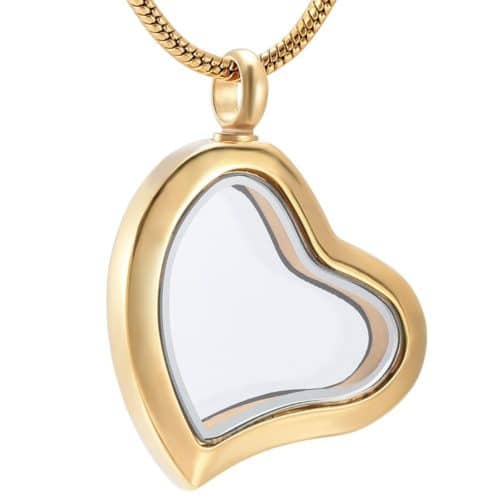 Fillable glass heart stainless steel pet memorial cremation pendant, gold color