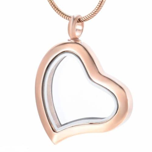 Fillable glass heart stainless steel pet memorial cremation pendant, rose gold color