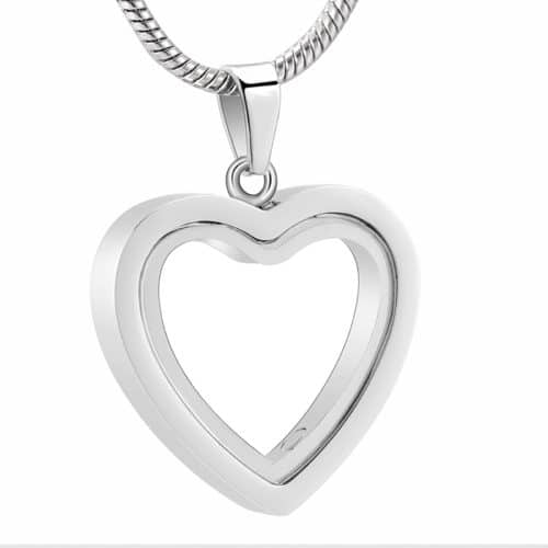 Fillable glass heart stainless steel pet memorial cremation pendant