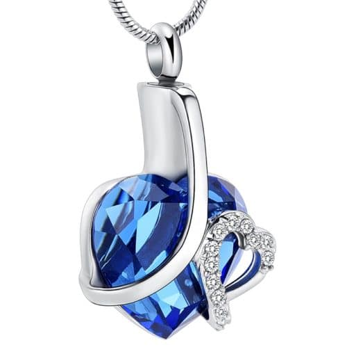 Stainless steel glass heart with clear stones memorial cremation pendant, blue