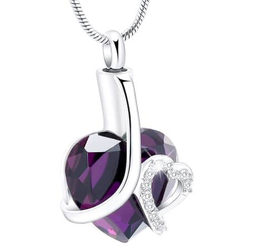 Stainless steel glass heart with clear stones memorial cremation pendant, purple