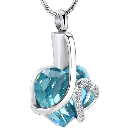 Stainless steel glass heart with clear stones memorial cremation pendant, teal