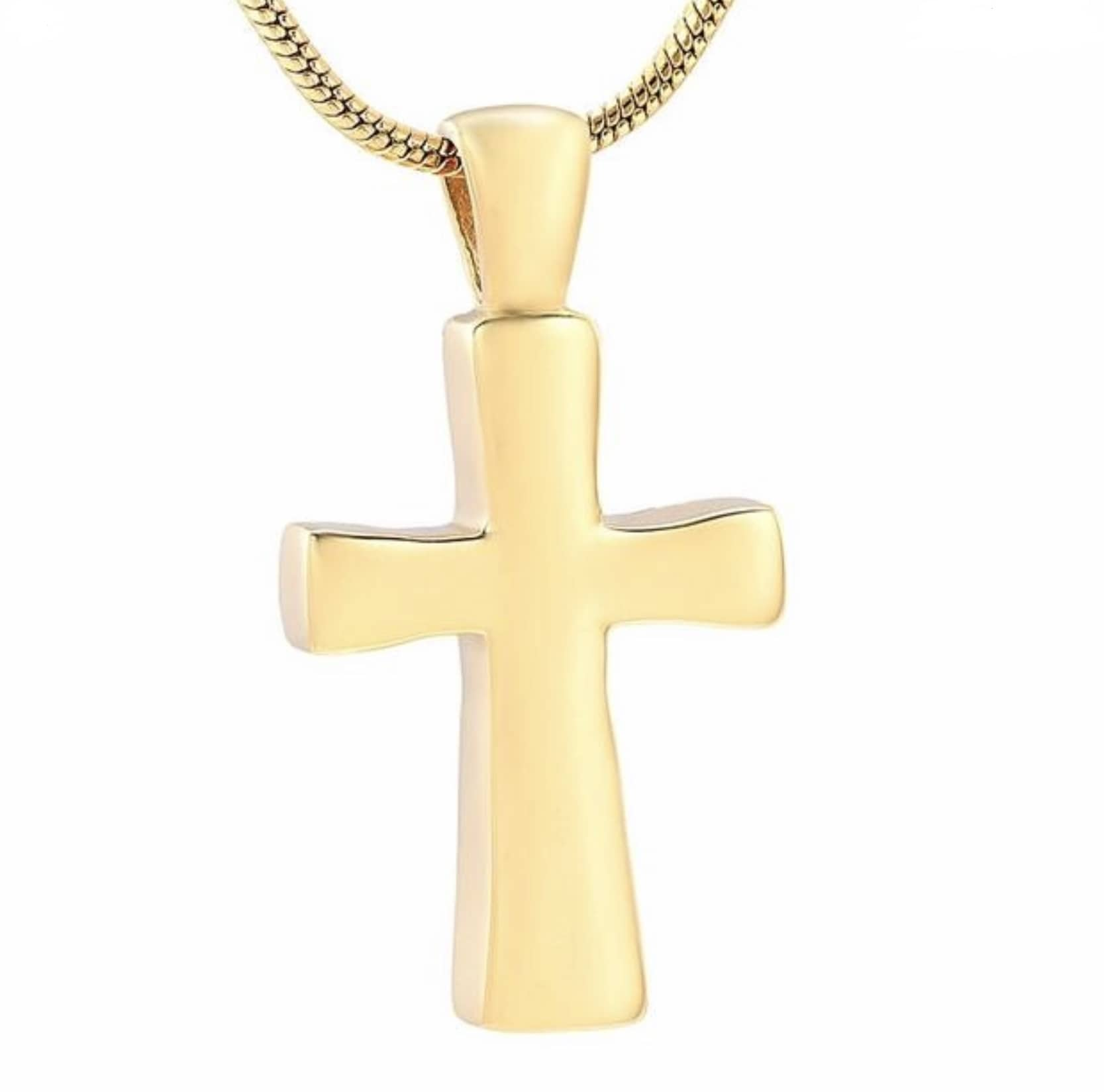 Stainless steel cross memorial cremation jewelry for pet cremation, gold color