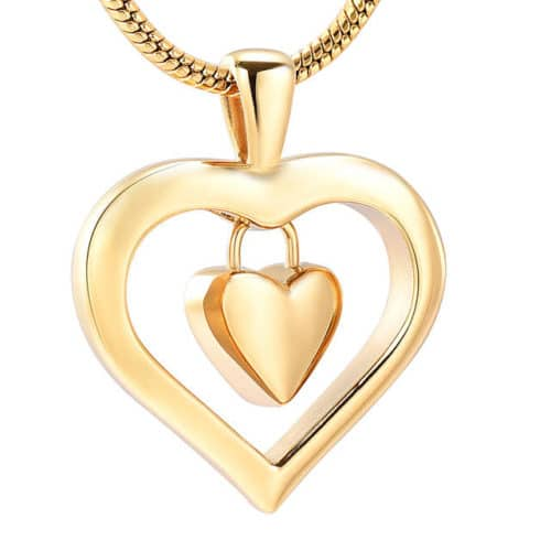 Heart In Heart memorial cremation jewelry stainless steel pendant, gold color