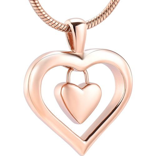 Heart In Heart memorial cremation jewelry stainless steel pendant, rose gold color