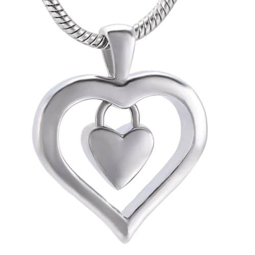 Heart In Heart memorial cremation jewelry stainless steel pendant