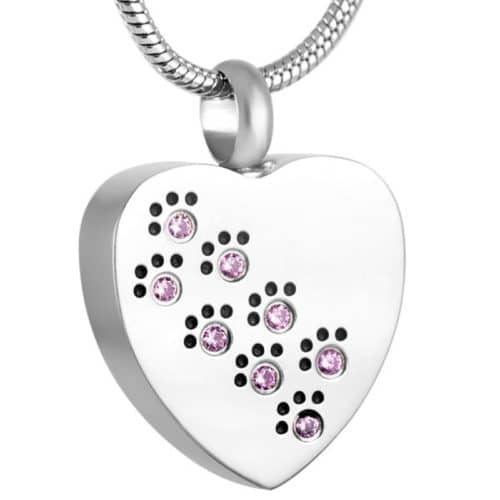 Heart Paw Prints pet memorial cremation pendant, stainless steel, pink stones