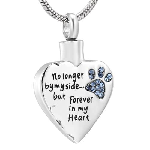 Stainless steel heart with blue paw print stones cremation memorial pendant