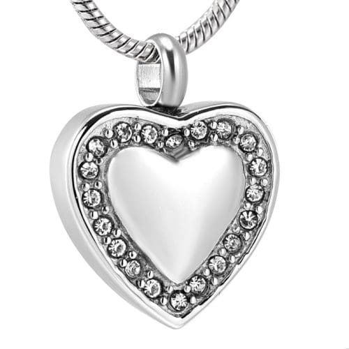 Stainless steel heart with clear stones memorial cremation pendant