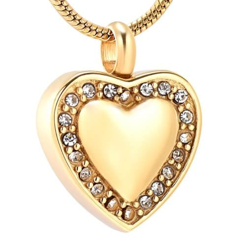 Stainless steel heart with clear stones memorial cremation pendant, gold color