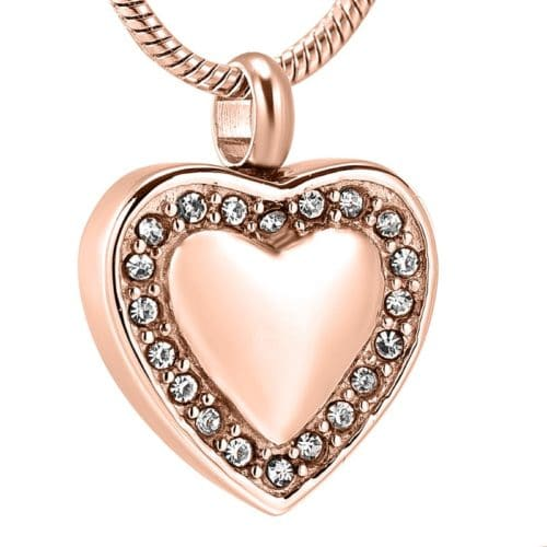 Stainless steel heart with clear stones memorial cremation pendant, rose gold color