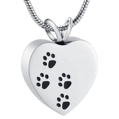 Heart with paw prints pet memorial cremation pendant, stainless steel