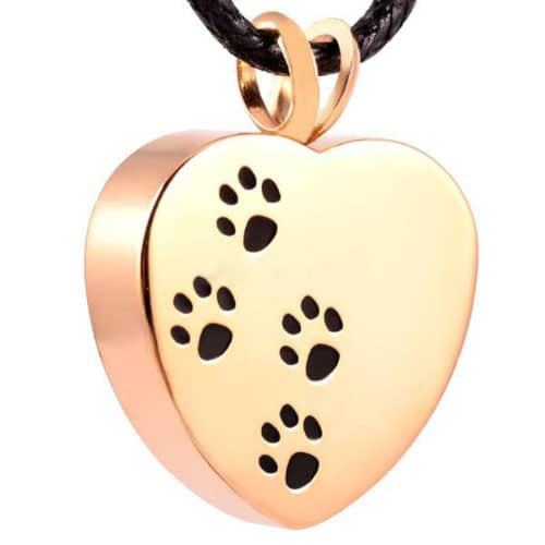 Heart with paw prints pet memorial cremation pendant, stainless steel, gold color