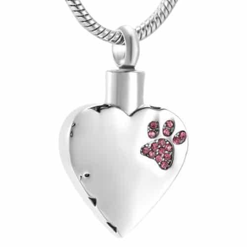 Stainless steel heart with pink paw print stones cremation memorial pendant