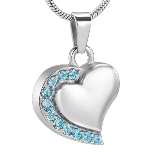 Heart With Stones stainless steel memorial cremation pendant, blue